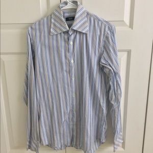 Hugo Boss white/blue/gold striped button down